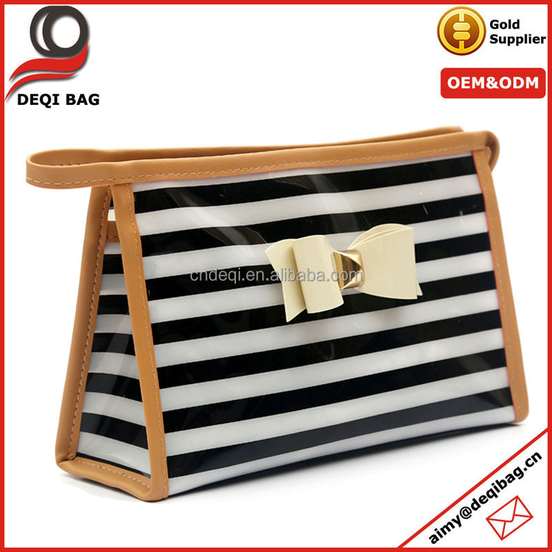 Striped PVC Toiletry Bag With Leather Webbing Front Bow