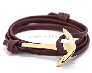 Brand name custom leather strap gold anchor charm bangle for women and men jewelry