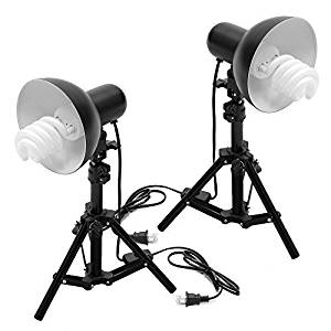 NuLink Photography Table Top Photo Studio Lighting Kit for Product Studio Shooting [Black, 400Watt Compact Fluorescent Photo Light Bulbs]