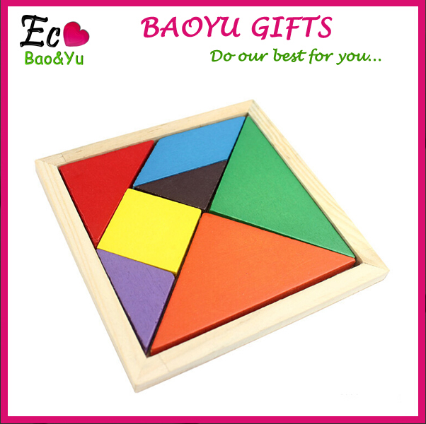 Mental Development Tangram Wooden Jigsaw Puzzle Educational Toys For Kids