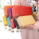 2020 Wholesale women candy color wallet ladies' long purse Double zip phone wallets