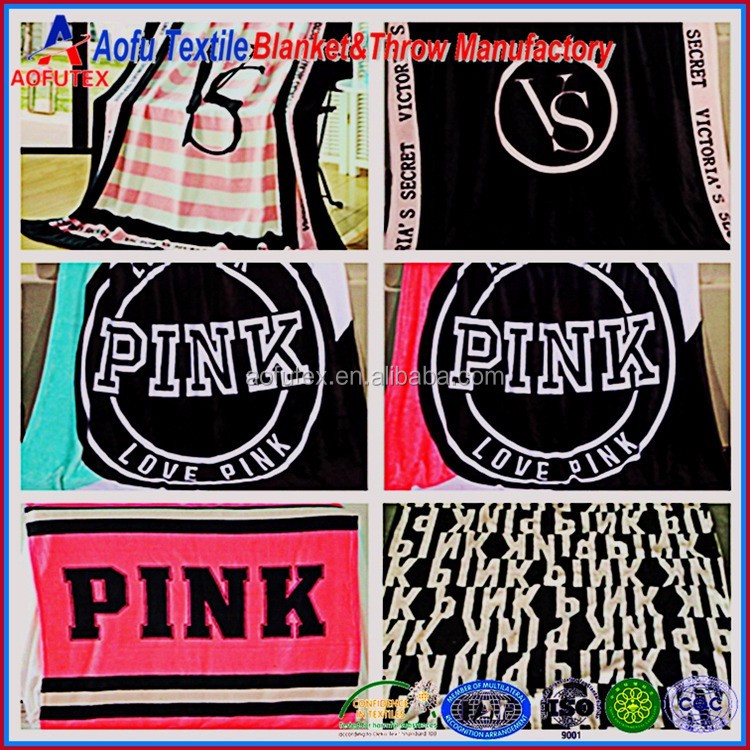 Victoria secret bulk China VS pink blanket manta Wholesale pink Fleece Blanket Throw victorias secrets products
