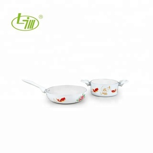 3-pcs Ancient China Style Silk Printed Aluminum Non-stick Cookware with White and Orange pattern Finish