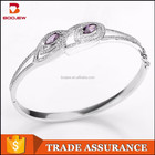 Fashion jewelry import accessories purple crystal jewelry silver bangle for ladies