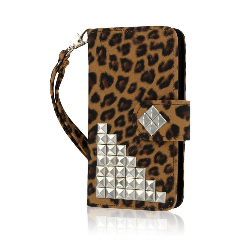 Lumia 635 Wallet Case, MPERO FLEX FLIP Wallet Case for Nokia Lumia 635 - Studded Leopard (ONLY compatible with standard back plate, NOT colored shells)