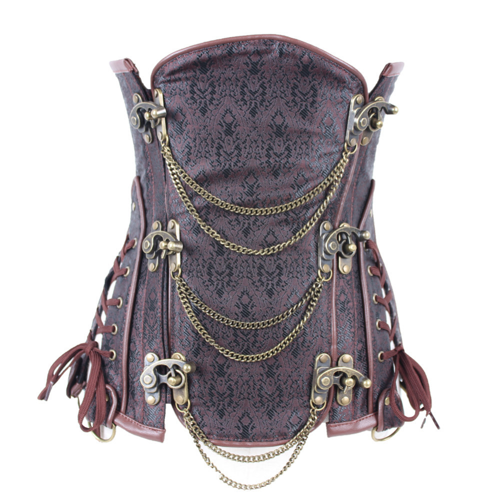 d05d3c7c32 Full Steel Boned Steampunk Brown Gothic Underbust Corset - Don ...