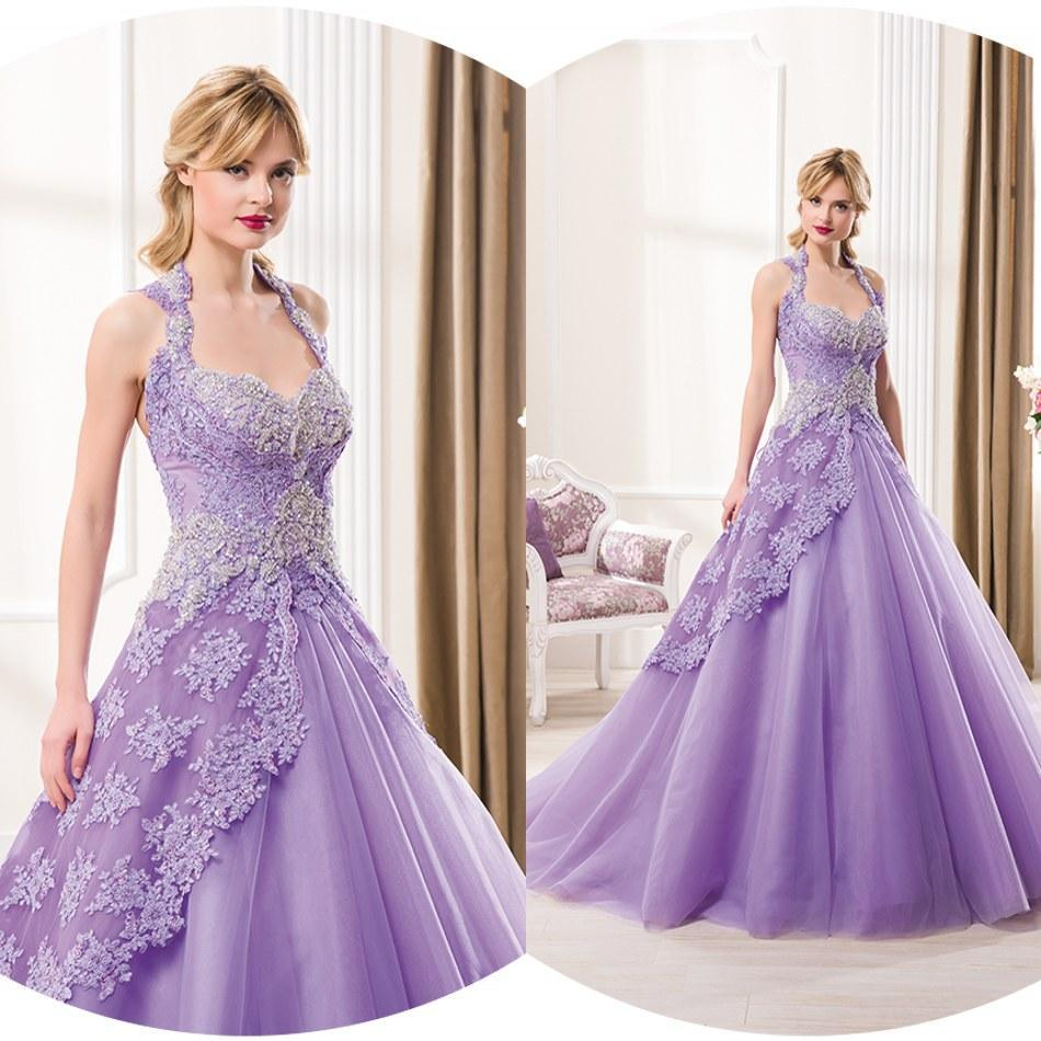 Colored Wedding Dresses 2015 Lavender A Line Wedding Gowns