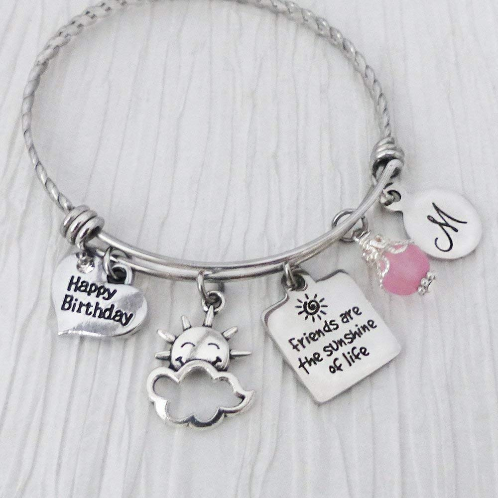 Friendship Gifts, Friends are the sunshine of life Jewelry, Bangle Bracelet, Jewelry, Happy Birthday Charm, Initial Letter Charm Bracelet, Best Friend Bracelet , Pink