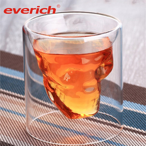 Everich New design Taro shape double wall glass cup glass milkshake cup double wall glass coffee cup mug