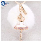 Wholesale fashion multicolor and fluffy fox fur pom pom ball keychain with dancing girl