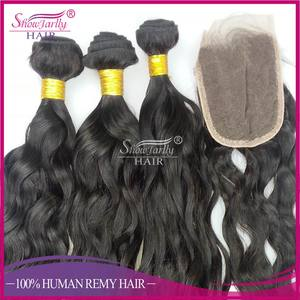 2017 news 4*4 loose curl wave middle part Indian human hair cheap lace front closure Brazilia wave