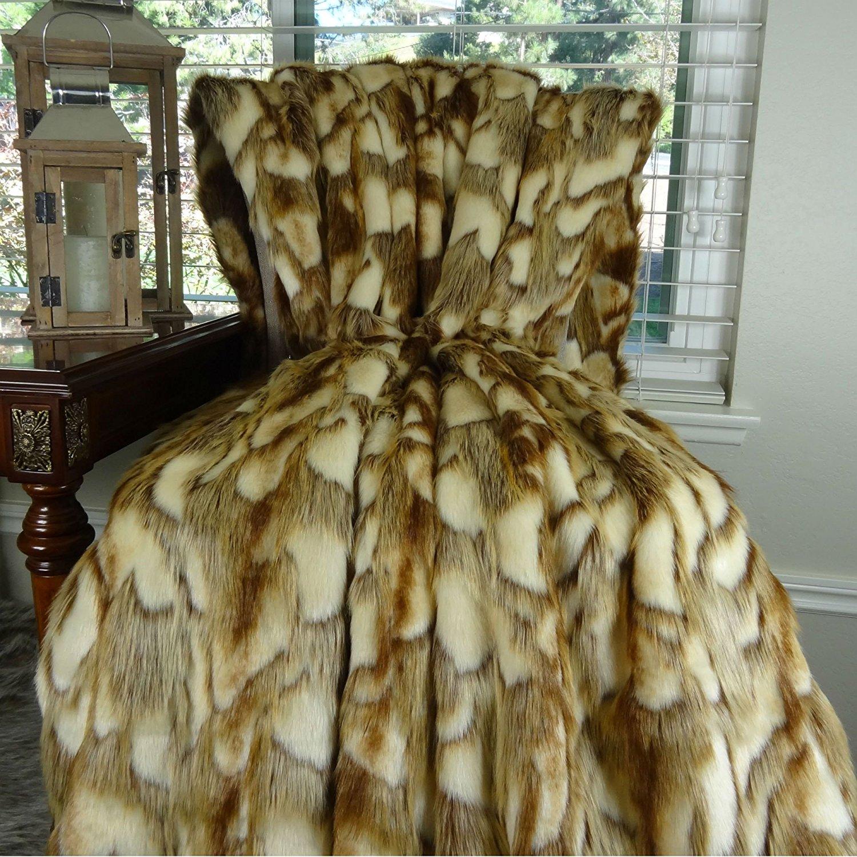 Thomas Collection super soft faux fur throw blanket, faux fur bedspread, Gold Faux Fur Luxury Throw Blanket Bedspread, Light Brown White Gray Faux Fur Throw, Handmade in USA, 16403