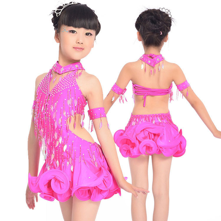 Get Quotations · 2015 New Arrival Latin Dance Dress For Girls Rose Sequin  Dance Costumes Children Vestido De Baile be00a45c514a