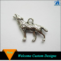 New products 19mm*26mm zinc alloy tibetan silver wolf pendant charm for necklace