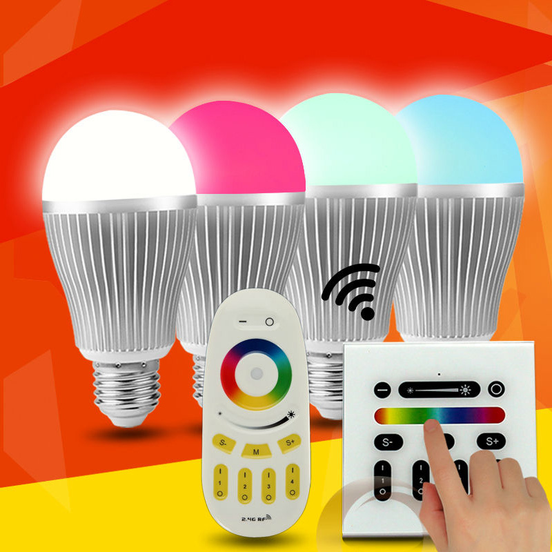 9w b22 e27 smart 2.4g rf rgb led bulb r60/r80 touch panel remote control colour changing dimmable ce fcc rohs pass rgb led bulbs