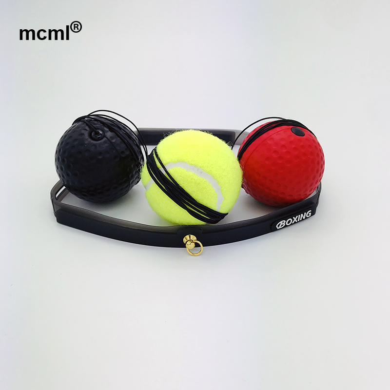 Reflex Bouncy Fight Speed Ball Level Boxing ball with Headband Portable Training Fitness, Red;black;base ball green