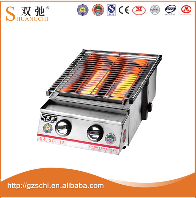 SC-J12 commerciële tafel top grote dubbele branders rvs Gas BBQ Grill japanse barbecue grills