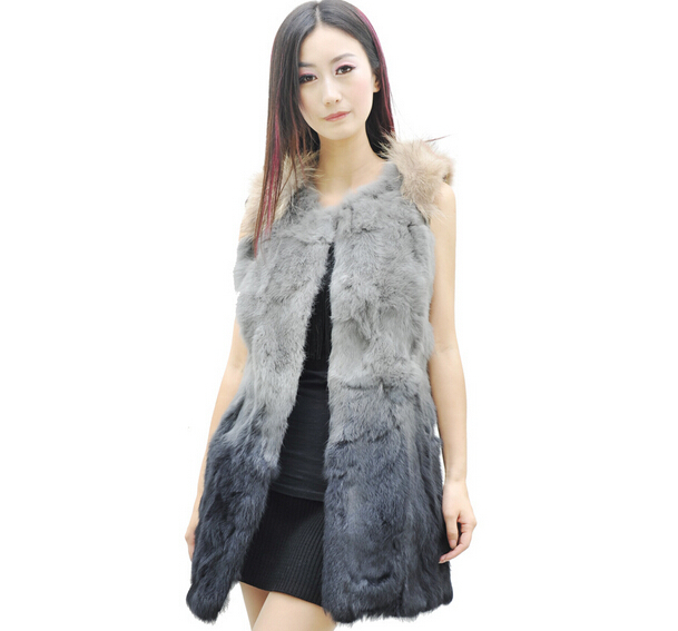 2dc2db2a49d Get Quotations · vest 2015 new collection trendy style real knitted rabbit  fur vest long sleeveless coat for women