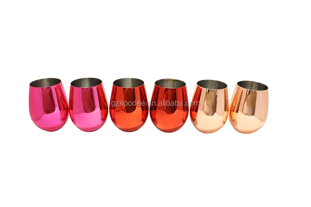 Silver One International Stainless Steel Copper Plated Finish Stemless Wine Goblets