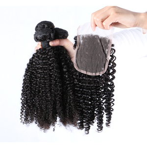 Best quality human hair bundles curly weave with 4*4 good closure