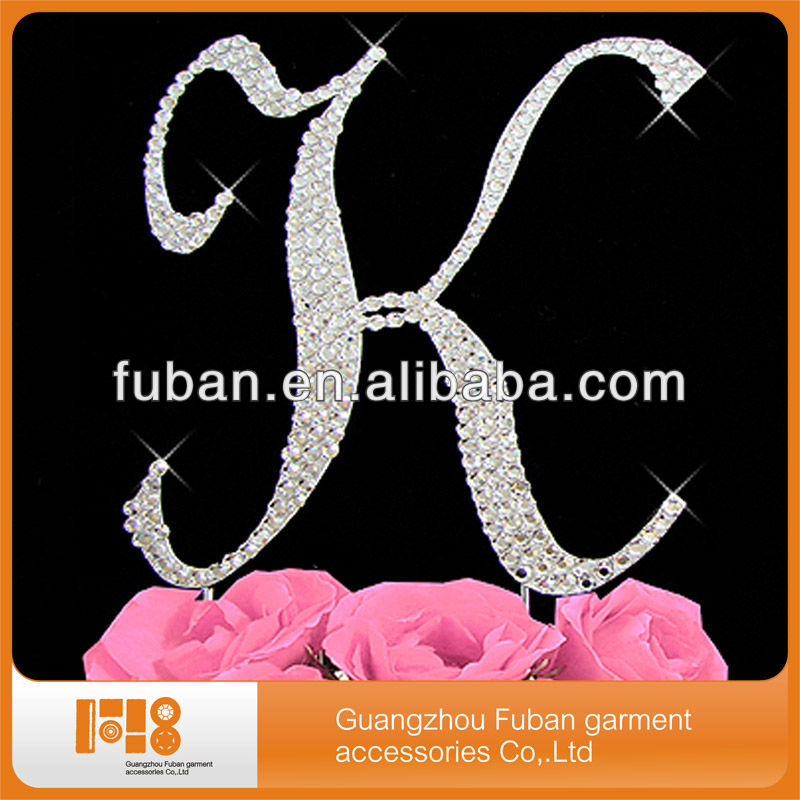 Wholesalea b c d e f g h i j k l m n o p r s t u v w x y z Diamante Crystal Rhinestone Letter Cake Topper For Party Decoration