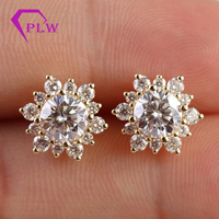 New arrival 2019 latest design 14k yellow gold moissanite diamond stud earrings price
