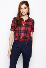 Cottton rojo chequeado button up corriente modas blusas