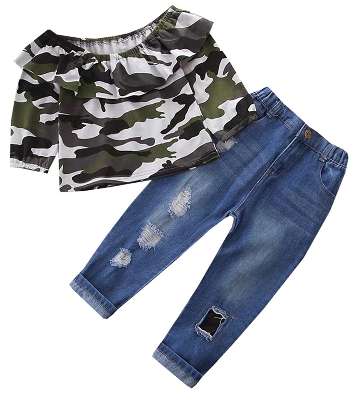 6c3c24b29bba Get Quotations · Ameyda Little Girls Camouflage Ruffles Off Shoulder Shirt  + Jeans 2 Piece Sets