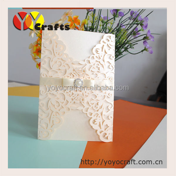 laser cut wedding template paper lalser cutting customizable handmade invitation card with rhinestone buckle and ribbon