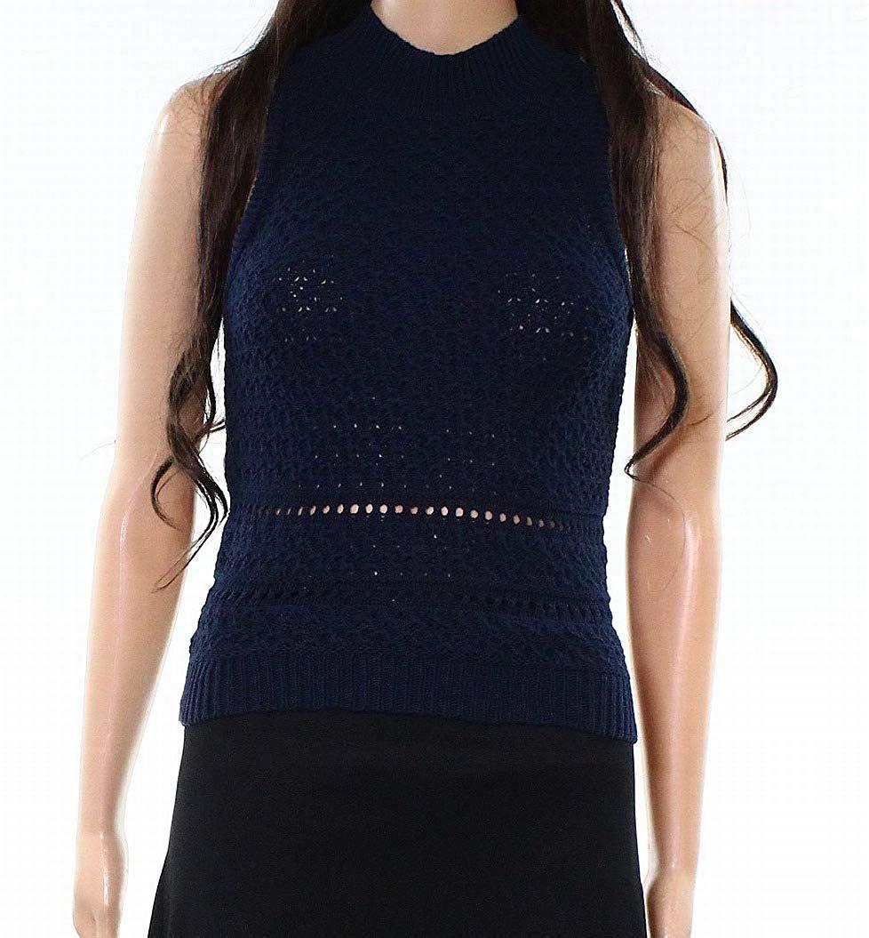 Jessica Simpson Womens Mock Neck Sleeveless Sweater Blue S