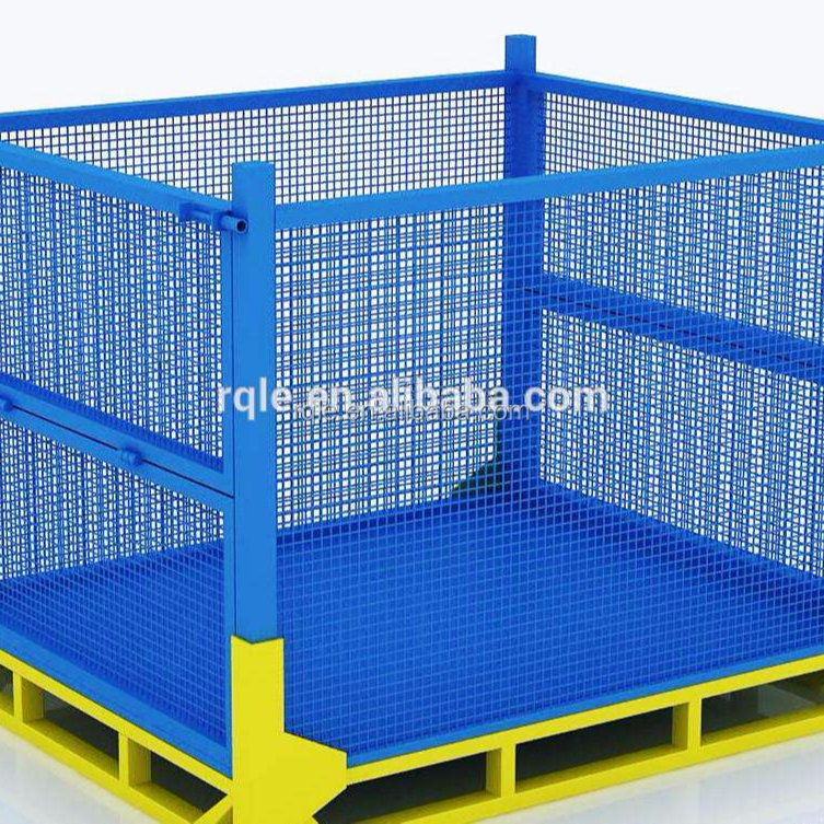 Stackable Wire Mesh Storage Steel Pallet Cage For Warehouse