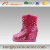 pink ladies high heels snow boots women