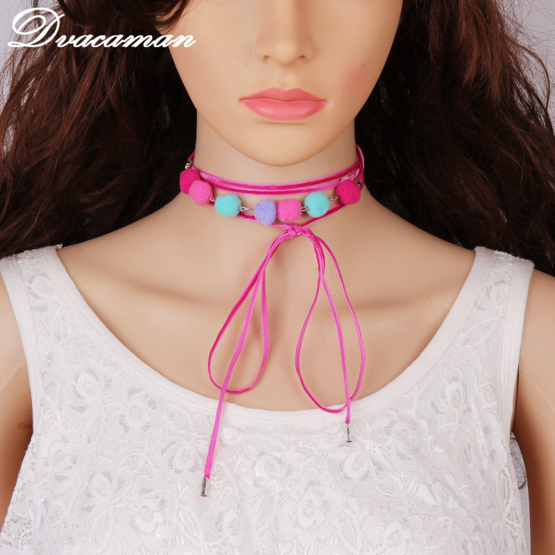 Dvacaman Bohemian Woven leather Choker Necklace with Pompom Ball Tassel Multi Layer Adjustable Collar Necklace jewelry 6160