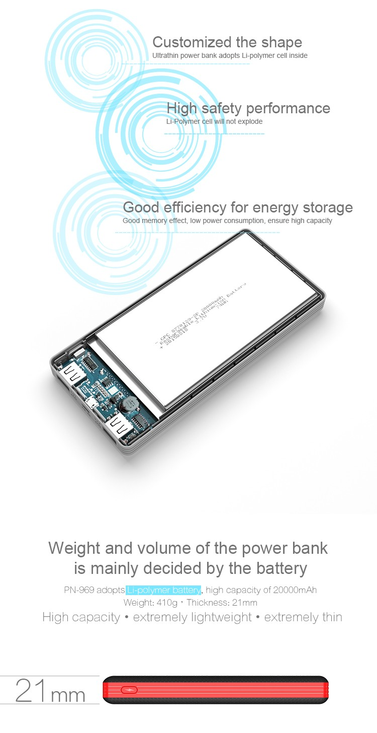 Pineng PN969 2017 newest slim polymer battery power bank 20000mah with LED indicators