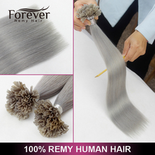 Xuchang Forever hair extensions 22 inch double drawn remy human gray pre-bonded hair u tip