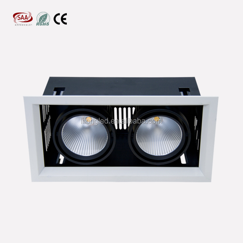 double head square light 2x18w led down light cob led grille downlight AR111