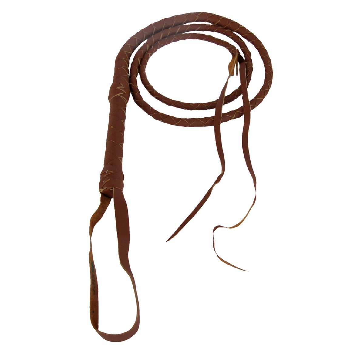 6 Ft. Quality 100% Leather Riding Bull Whip - Brown Tan