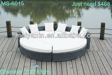 MS-6015 PE Rattan KD 5 PCS round bed