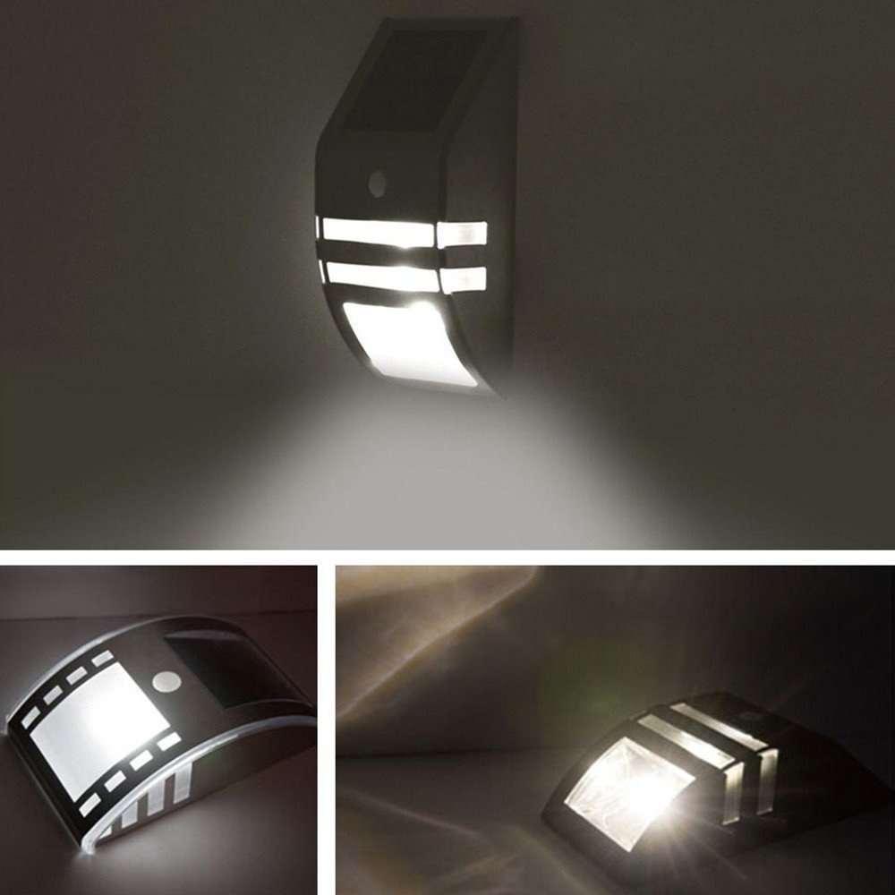 Factory wholesale stainless steel solar lamp body induction corridor lamp 2LED light solar garden lights