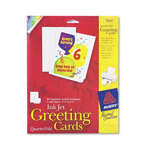Avery Products - Avery - Personal Creations Printable Quarter-Fold Cards, 4-1/4 x 5-1/2, 20/Pack - Sold As 1 Pack - Ideal for birthday and holiday cards, invitations and announcements. - The, heavyweight stock and special two-sided coating maximize inkjet printer colors. - Premium scoring allow for