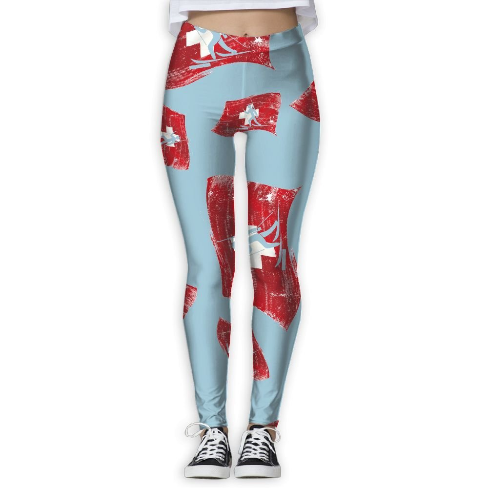 f694a7f514 Get Quotations · Two Items In Winter Swiss Flag Women Yoga Pants Gym Sports  Workout Leggings
