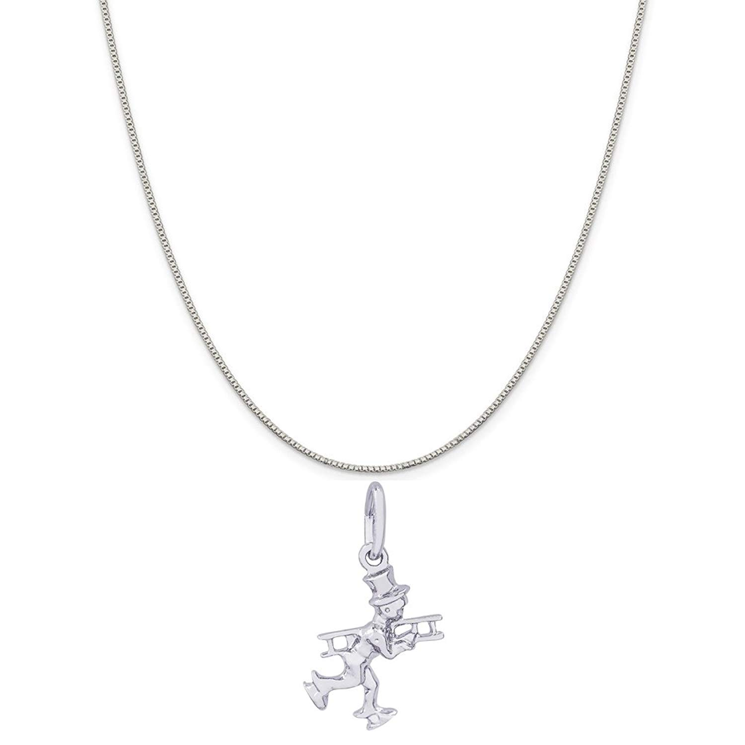 Rembrandt Charms Sterling Silver Dragon Charm on a 16 Box or Curb Chain Necklace 18 or 20 inch Rope