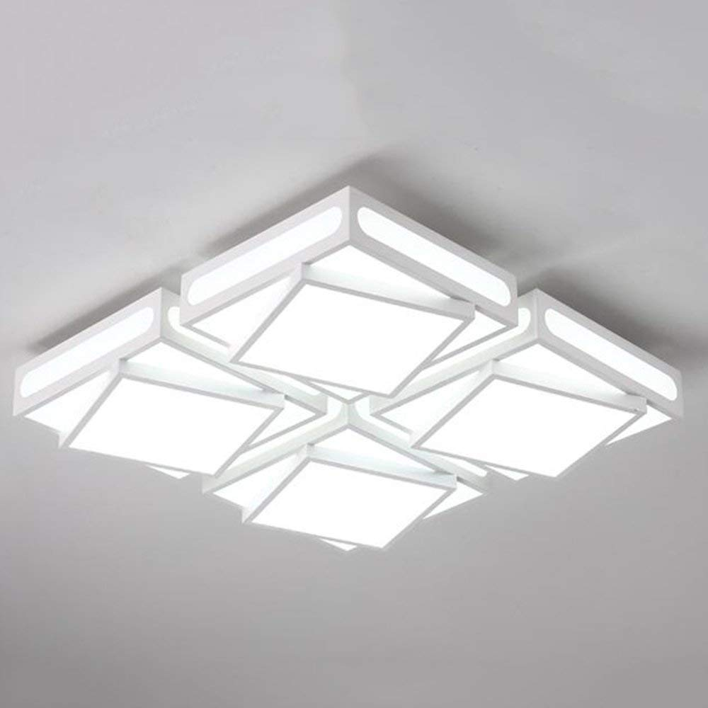 XQY Ceiling Light-48W Square Led Iron Lamp Body Acrylic Shade Creative Room Household Lamps 62 62 12Cm - Energy Saving