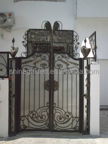 WH-15G7145 UV PC board cover indoors design wrought iron dual gate