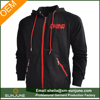OEM Zipper up warm sport wear fleece black hoodie for men