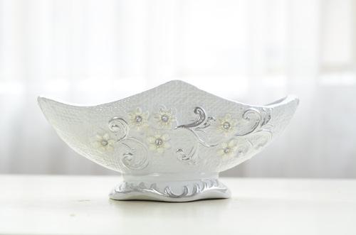 European creative flower gothic relief ship diamond luxury ceramic flower holder living room home decoration CHC194W