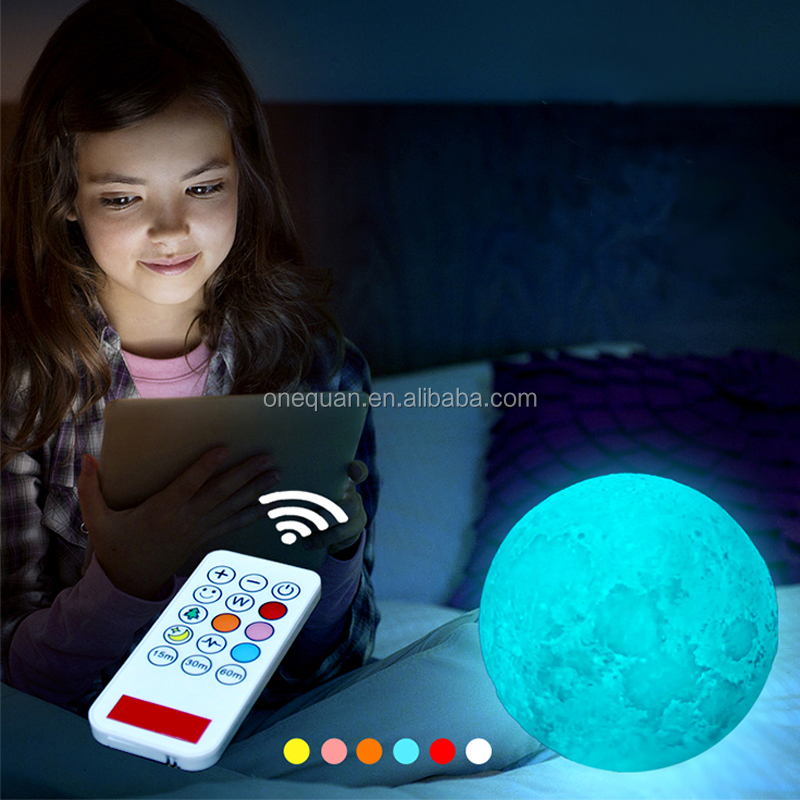 Smart USB recharge portable remote moon nights lamps ball 3D printed moon light