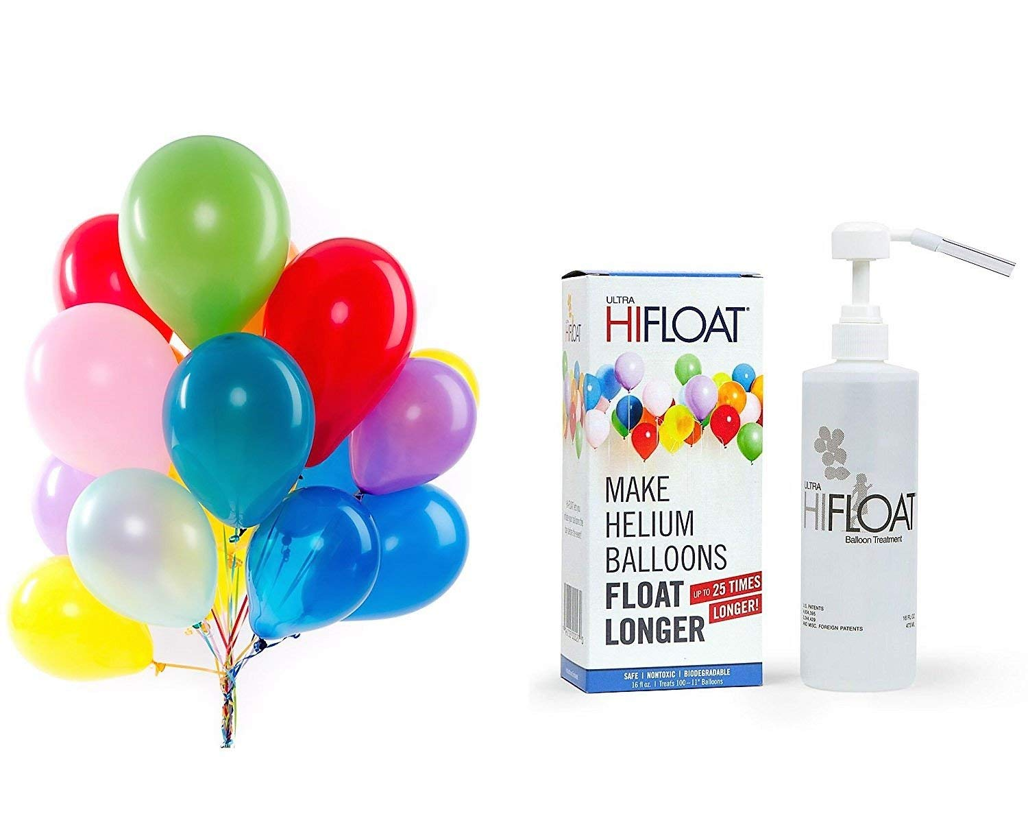 efe554a8f26 Get Quotations · Hi-Float Balloon Treatment 16 oz and 144 Pcs Party Balloons  Together (Assorted Colors