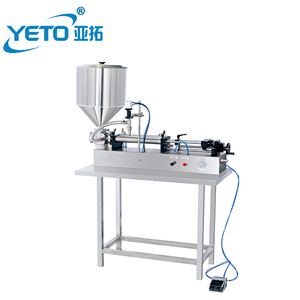 semi-auto horizontal pneumatic liquid filling machine with hopper for shampoo, lotion and grease