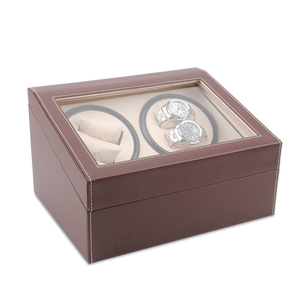 Wooden Leather Automatic Rotation Watch Winder Storage Case Display Box
